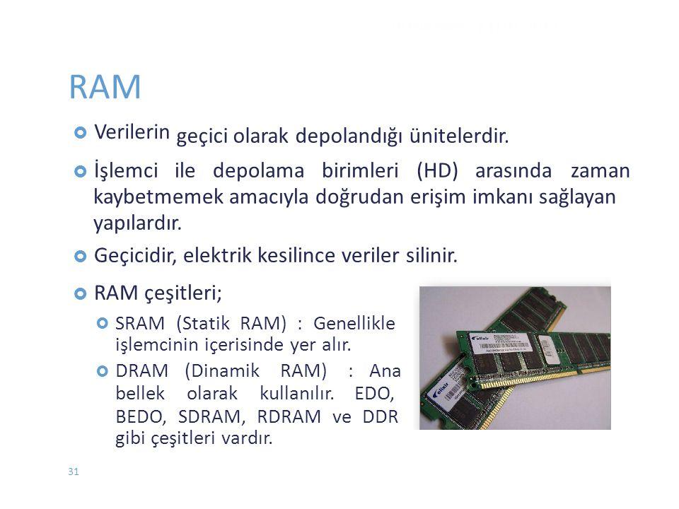 RAM  Verilerin  İşlemci ile depolama birimleri (HD) arasında zaman kaybetmemek amacıyla doğrudan erişim imkanı sağlayan yapılardır.  Geçicidir, ele