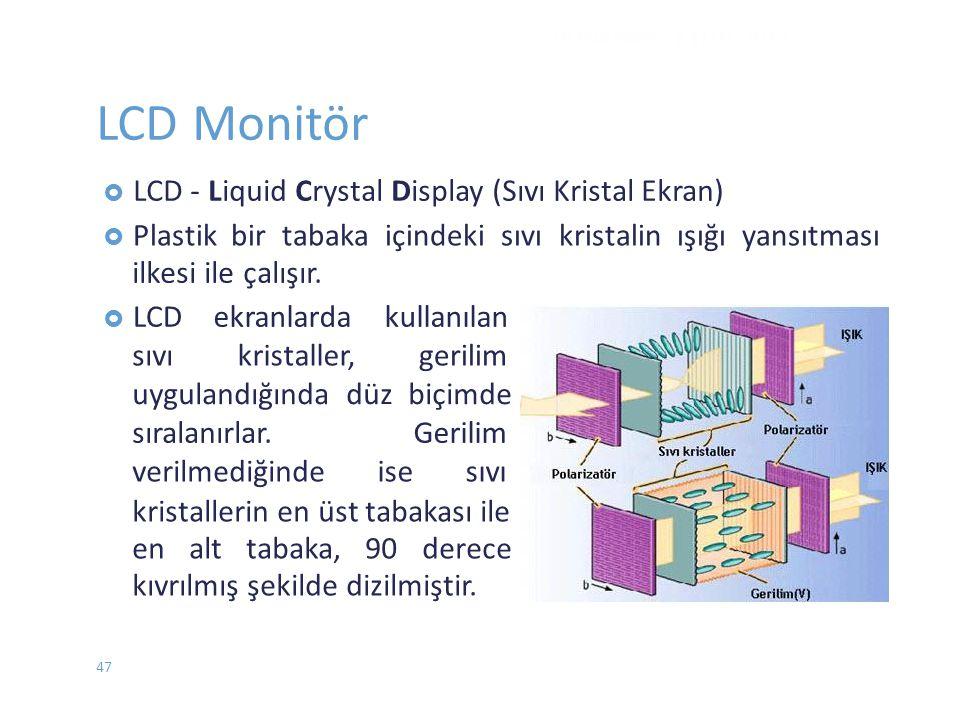  Plastikbir tabaka içindeki sıvı kristalin ışığı yansıtması ilkesi ile çalışır.  LCDekranlarda kullanılan sıvıkristaller,gerilim uygulandığında düz