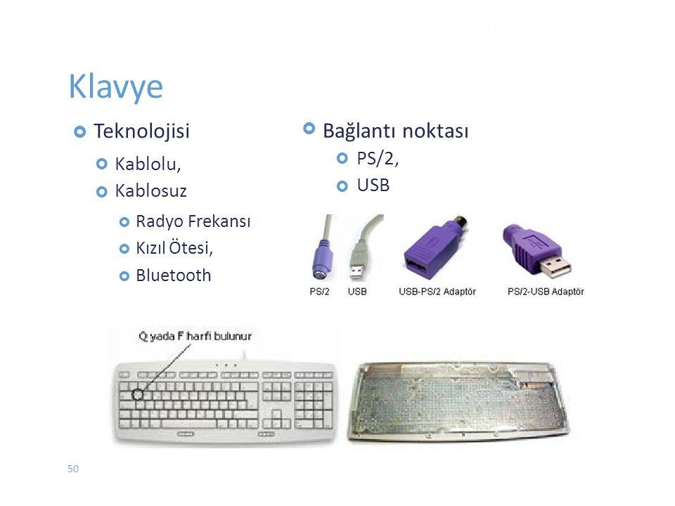 Klavye  Teknolojisi  Kablolu, Kablosuz  Radyo Frekansı  KızılÖtesi,  Bluetooth   PS/2, USB DONANIM - EYLÜL 2012 Bağlantı noktası 50