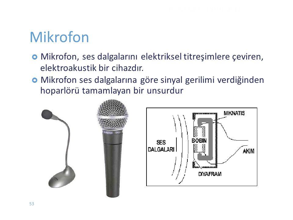 Mikrofon  Mikrofon,ses dalgalarını elektriksel titreşimlere çeviren, elektroakustik bir cihazdır.  Mikrofon ses dalgalarına göre sinyal gerilimi ver