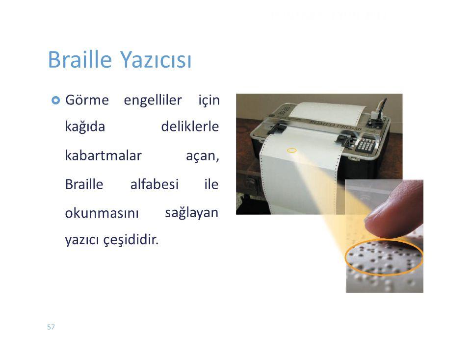 Braille Yazıcısı  Görme kağıda engelliler için deliklerle kabartmalaraçan, Braillealfabesiile sağlayan okunmasını yazıcı çeşididir. DONANIM - EYLÜL 2