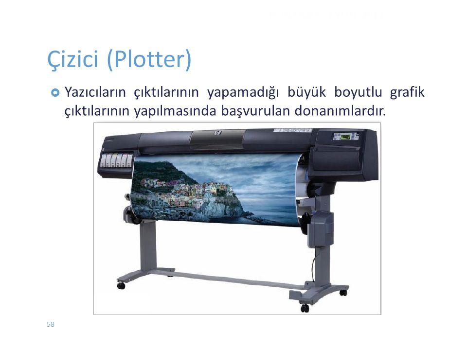 Çizici (Plotter)  Yazıcılarınçıktılarının yapamadığı büyük boyutlu grafik çıktılarının yapılmasında başvurulan donanımlardır. DONANIM - EYLÜL 2012 58
