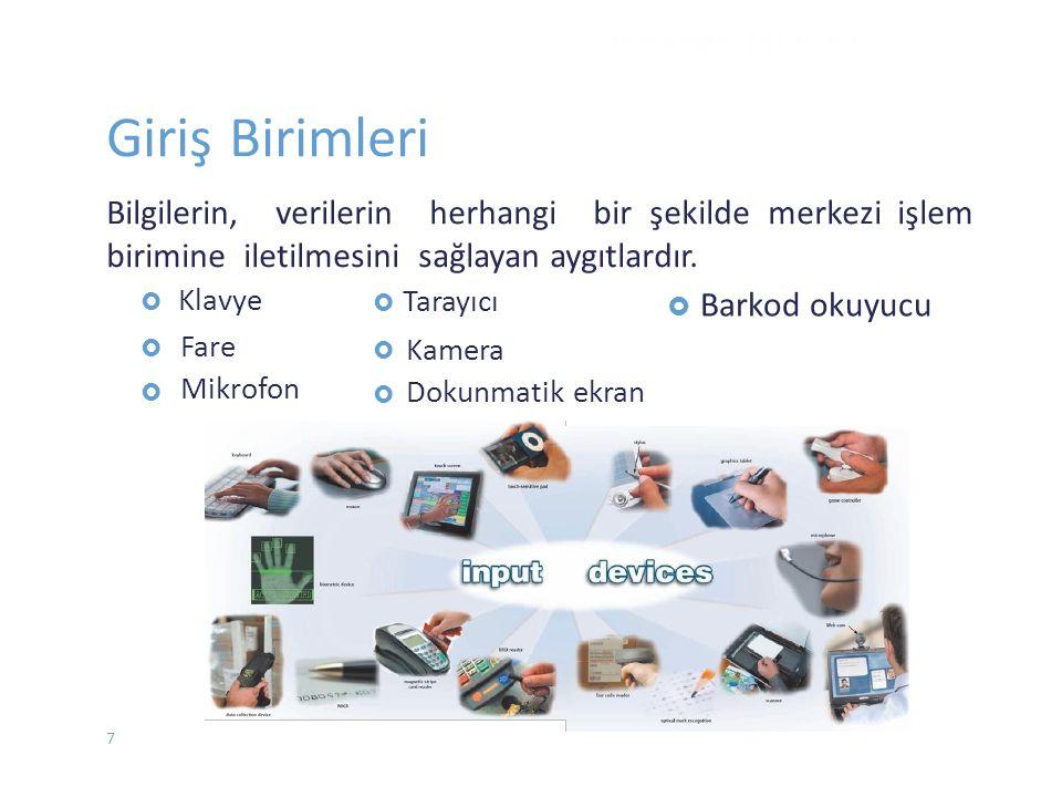  Klavye  Fare Mikrofon  Tarayıcı  Kamera Dokunmatik ekran  Barkod okuyucu DONANIM - EYLÜL 2012 Giriş Birimleri Bilgilerin, verilerin herhan