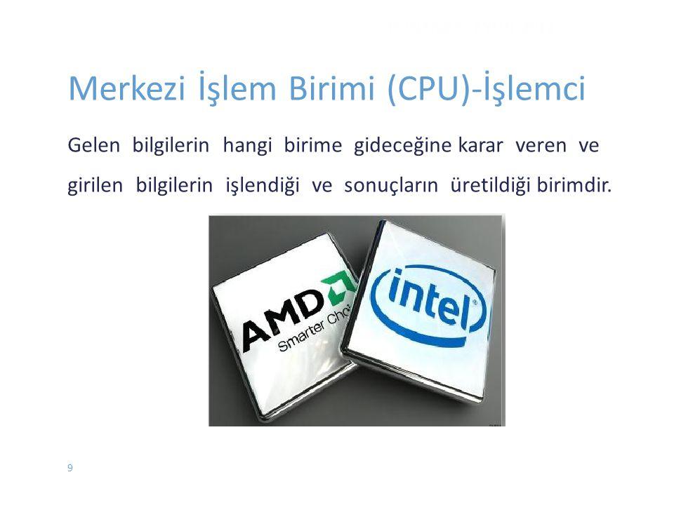 DONANIM - EYLÜL 2012 Merkezi İşlem Birimi (CPU)-İşlemci Gelen bilgilerin hangi birime gideceğine karar veren ve girilen bilgilerin işlendiği ve sonuçl