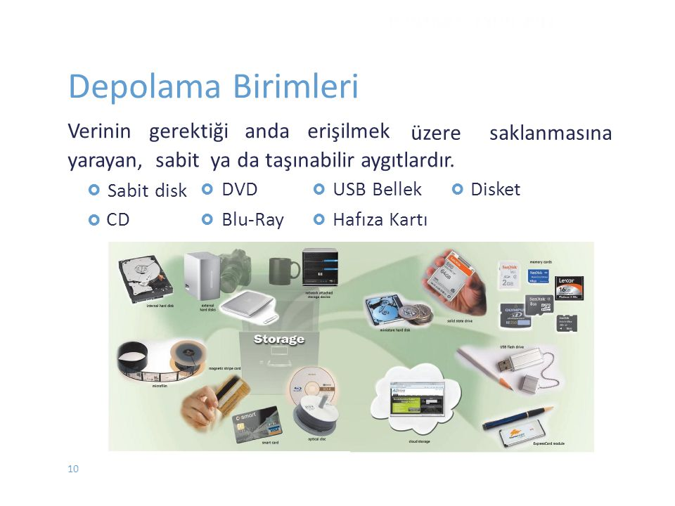 CD / CD-ROM  SadeceOkunabilir Optik Disk (Compact Disc Read Only Media)  Bir CD ROM un çapı 12 santimdir.