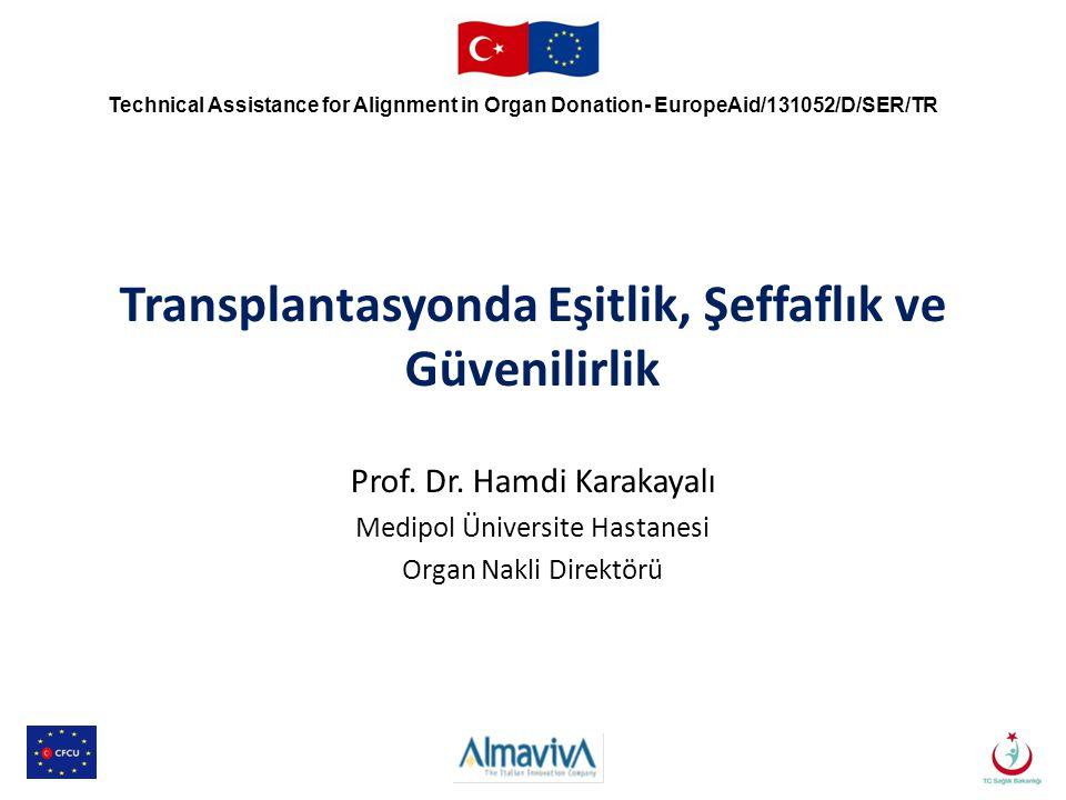 Transplantasyonda Eşitlik, Şeffaflık ve Güvenilirlik Prof. Dr. Hamdi Karakayalı Medipol Üniversite Hastanesi Organ Nakli Direktörü Technical Assistanc