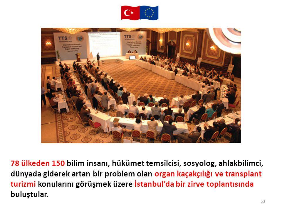 53 78 ülkeden 150 bilim insanı, hükümet temsilcisi, sosyolog, ahlakbilimci, dünyada giderek artan bir problem olan organ kaçakçılığı ve transplant tur