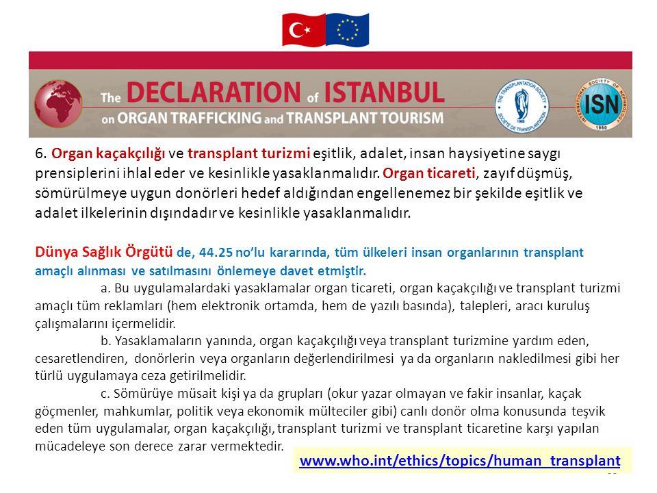 55 6. Organ kaçakçılığı ve transplant turizmi eşitlik, adalet, insan haysiyetine saygı prensiplerini ihlal eder ve kesinlikle yasaklanmalıdır. Organ t