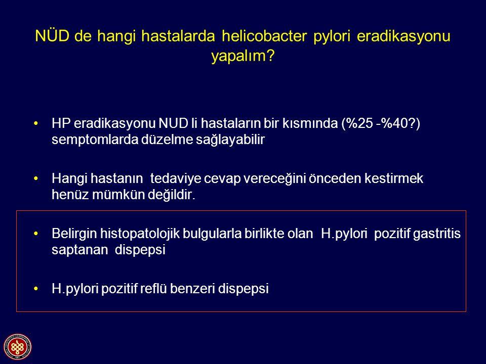 NÜD de hangi hastalarda helicobacter pylori eradikasyonu yapalım? HP eradikasyonu NUD li hastaların bir kısmında (%25 -%40?) semptomlarda düzelme sağl