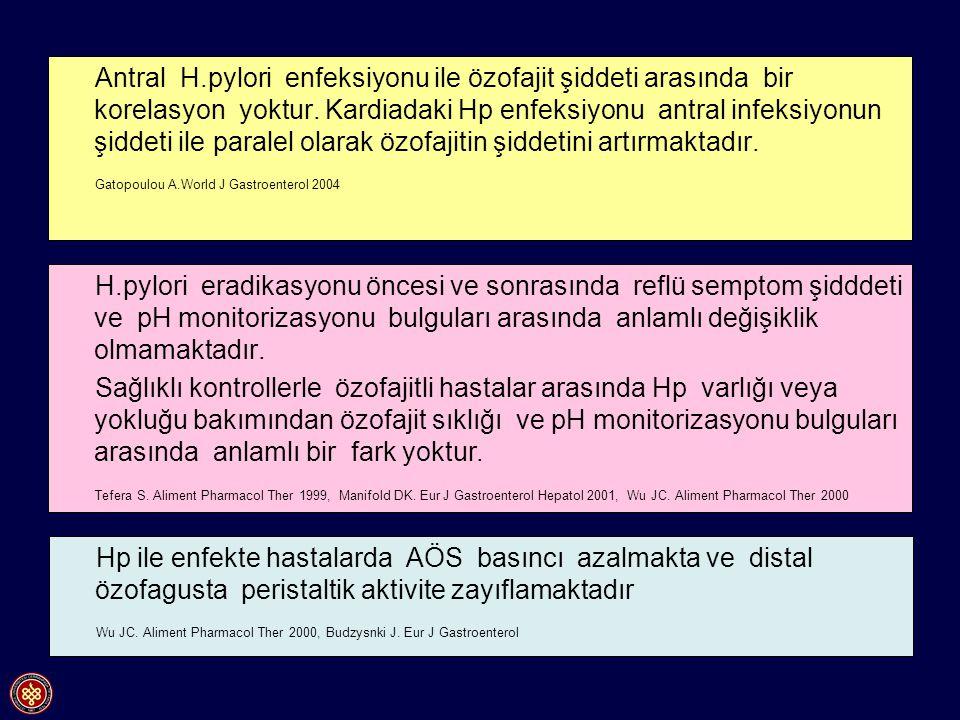 Antral H.pylori enfeksiyonu ile özofajit şiddeti arasında bir korelasyon yoktur. Kardiadaki Hp enfeksiyonu antral infeksiyonun şiddeti ile paralel ola