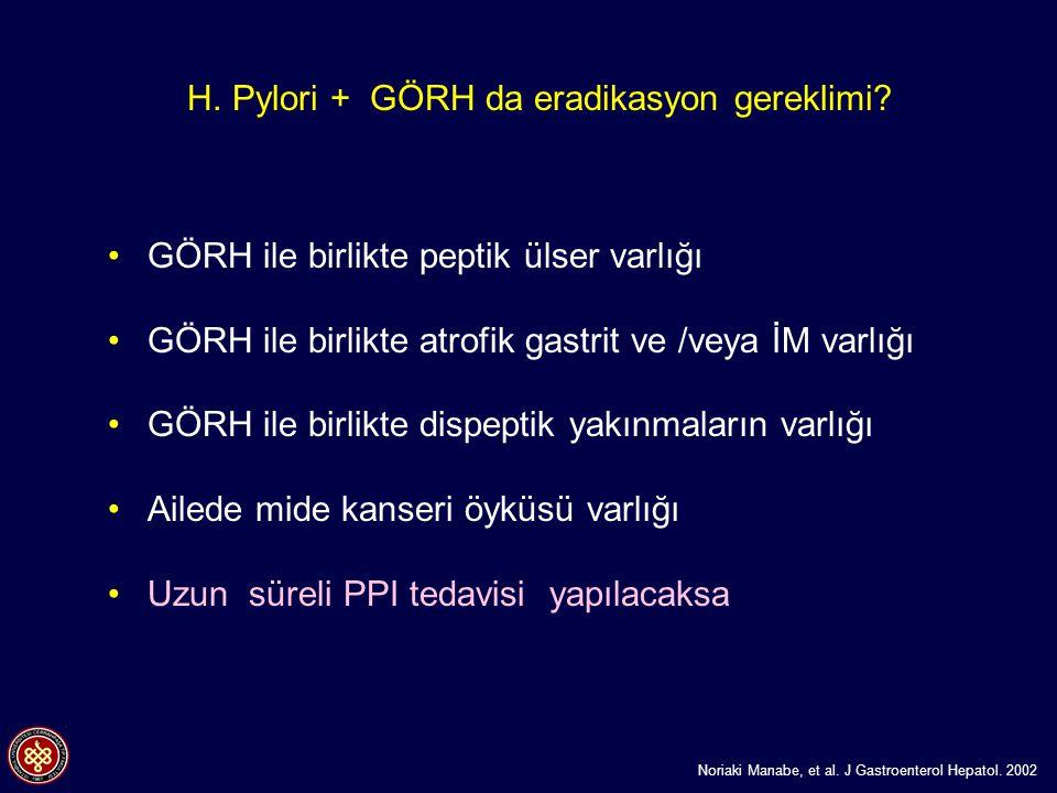 H. Pylori + GÖRH da eradikasyon gereklimi? GÖRH ile birlikte peptik ülser varlığı GÖRH ile birlikte atrofik gastrit ve /veya İM varlığı GÖRH ile birli