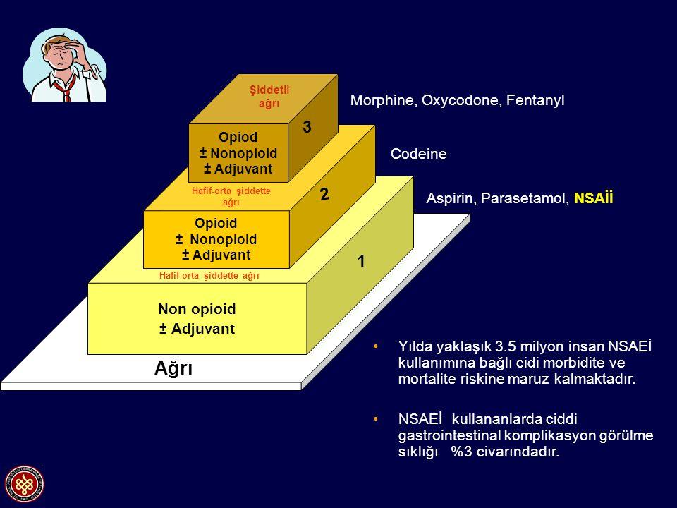 Non opioid ± Adjuvant Opioid ± Nonopioid ± Adjuvant Opiod ± Nonopioid ± Adjuvant Ağrı 3 2 1 Aspirin, Parasetamol, NSAİİ Codeine Morphine, Oxycodone, F