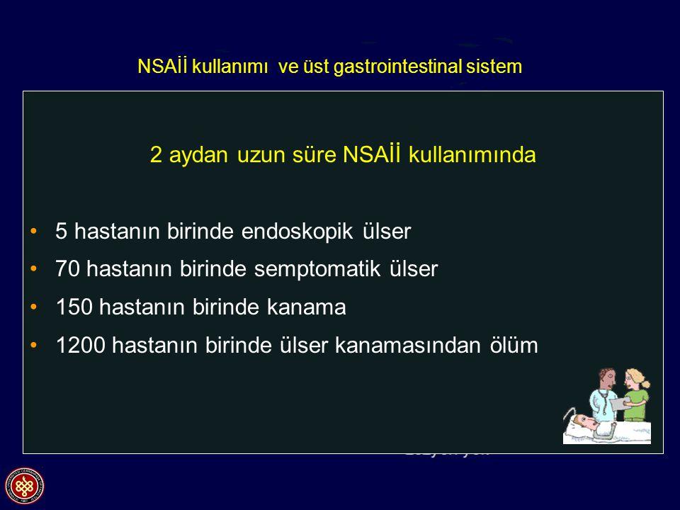 NSAİİ kullanımı ve üst gastrointestinal sistem 2 aydan uzun süre NSAİİ kullanımında 5 hastanın birinde endoskopik ülser 70 hastanın birinde semptomati