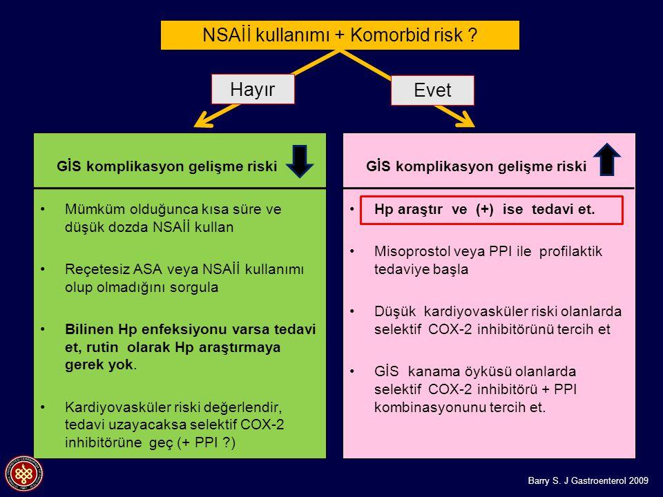NSAİİ kullanımı + Komorbid risk ? GİS komplikasyon gelişme riski Mümküm olduğunca kısa süre ve düşük dozda NSAİİ kullan Reçetesiz ASA veya NSAİİ kulla