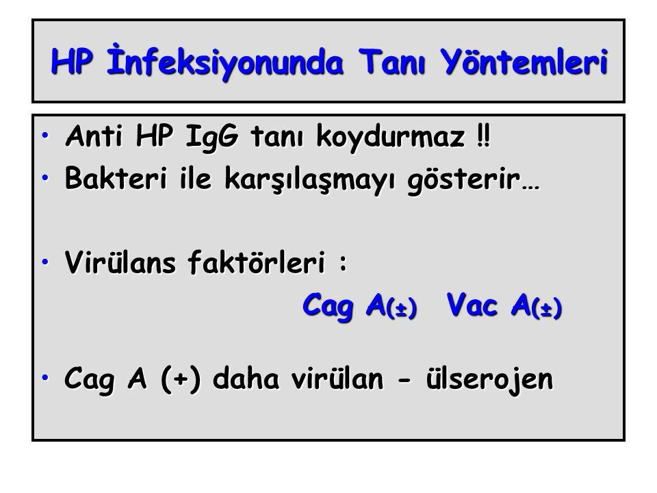 HP İnfeksiyonunda Tanı Yöntemleri Anti HP IgG tanı koydurmaz !!Anti HP IgG tanı koydurmaz !.
