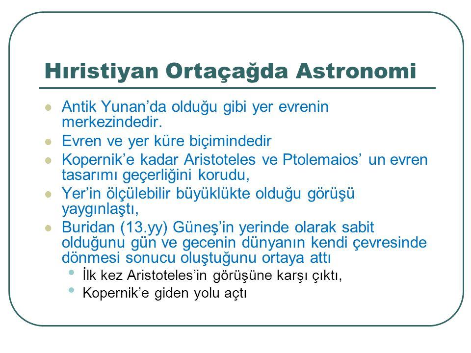Hıristiyan Ortaçağda Astronomi Antik Yunan'da olduğu gibi yer evrenin merkezindedir. Evren ve yer küre biçimindedir Kopernik'e kadar Aristoteles ve Pt