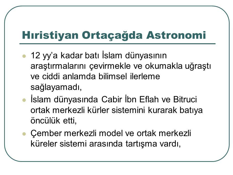 Hıristiyan Ortaçağda Astronomi 12 yy'a kadar batı İslam dünyasının araştırmalarını çevirmekle ve okumakla uğraştı ve ciddi anlamda bilimsel ilerleme s