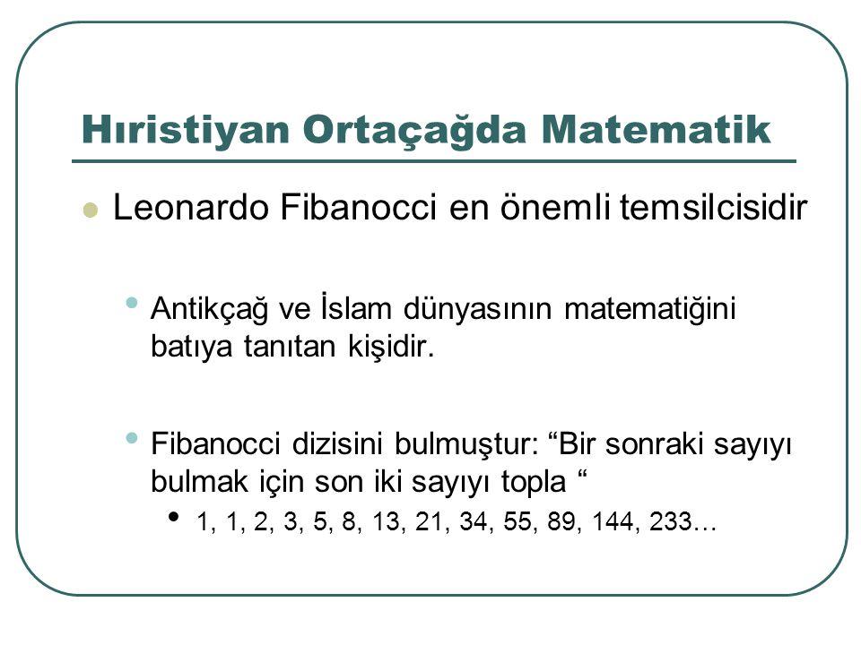 Hıristiyan Ortaçağda Matematik Leonardo Fibanocci en önemli temsilcisidir Antikçağ ve İslam dünyasının matematiğini batıya tanıtan kişidir. Fibanocci