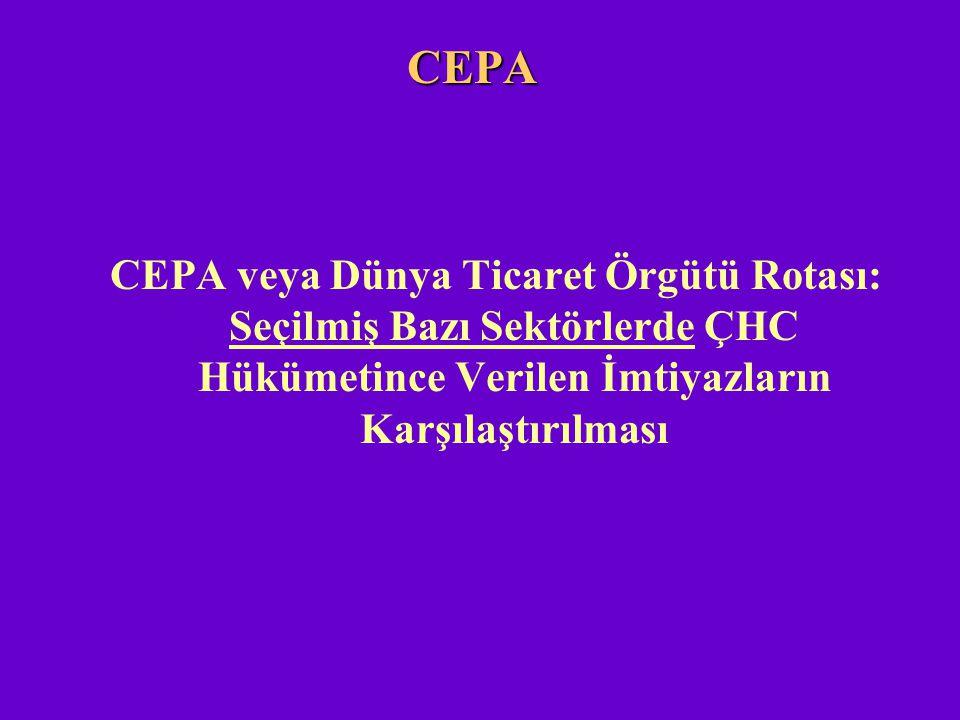 CEPA CEPA veya Dünya Ticaret Örgütü Rotası: Seçilmiş Bazı Sektörlerde ÇHC Hükümetince Verilen İmtiyazların Karşılaştırılması