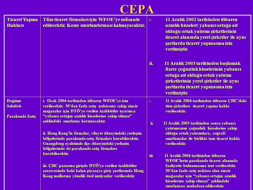 CEPA Ticaret Yapma Hakları Tüm ticaret firmaları için WFOE'ye müsaade edilecektir. Konu sınırlandırması kalmayacaktır. i. 11 Aralık 2002 tarihinden it