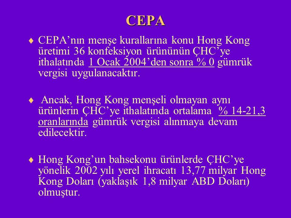 CEPA  CEPA'nın menşe kurallarına konu Hong Kong üretimi 36 konfeksiyon ürününün ÇHC'ye ithalatında 1 Ocak 2004'den sonra % 0 gümrük vergisi uygulanac