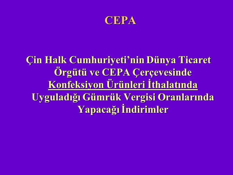 CEPA Çin Halk Cumhuriyeti'nin Dünya Ticaret Örgütü ve CEPA Çerçevesinde Konfeksiyon Ürünleri İthalatında Uyguladığı Gümrük Vergisi Oranlarında Yapacağ