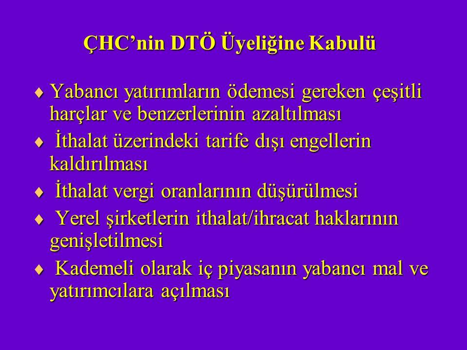 ÇHC'nin DTÖ Üyeliğine Kabulü  Yabancı yatırımların ödemesi gereken çeşitli harçlar ve benzerlerinin azaltılması  İthalat üzerindeki tarife dışı enge