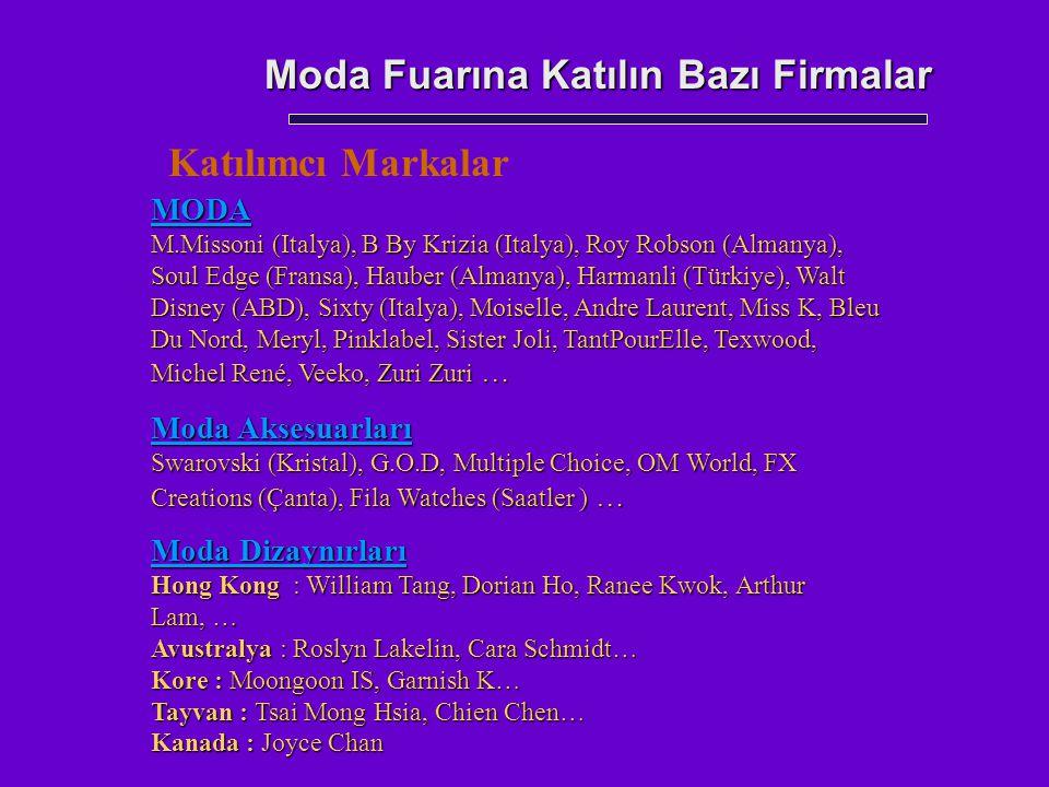 Moda Fuarına Katılın Bazı Firmalar MODA M.Missoni (Italya), B By Krizia (Italya), Roy Robson (Almanya), Soul Edge (Fransa), Hauber (Almanya), Harmanli