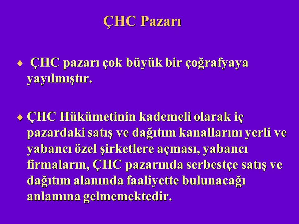 ÇHC Pazarı ÇHC pazarı çok büyük bir çoğrafyaya yayılmıştır.  ÇHC pazarı çok büyük bir çoğrafyaya yayılmıştır.  ÇHC Hükümetinin kademeli olarak iç pa