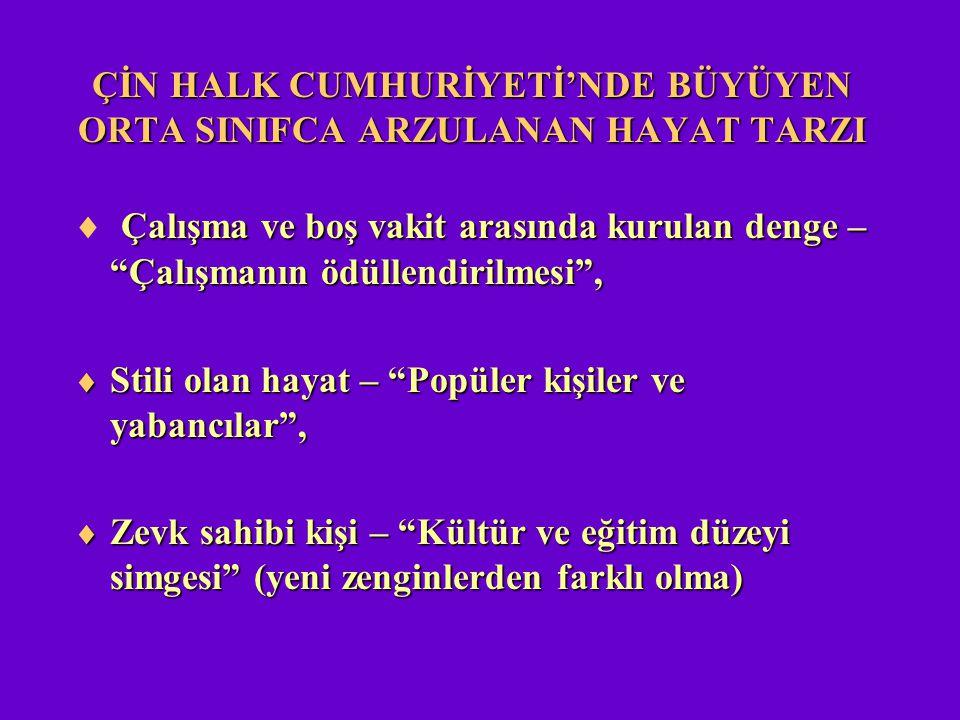 """ÇİN HALK CUMHURİYETİ'NDE BÜYÜYEN ORTA SINIFCA ARZULANAN HAYAT TARZI Çalışma ve boş vakit arasında kurulan denge – """"Çalışmanın ödüllendirilmesi"""",  Çal"""