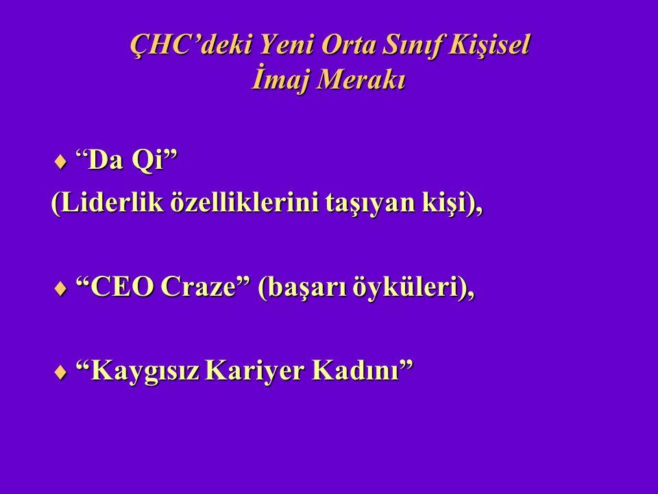 """ÇHC'deki Yeni Orta Sınıf Kişisel İmaj Merakı  """"Da Qi"""" (Liderlik özelliklerini taşıyan kişi),  """"CEO Craze"""" (başarı öyküleri),  """"Kaygısız Kariyer Kad"""