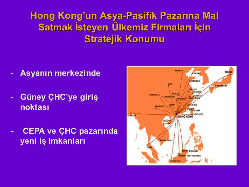 Hong Kong'un Asya-Pasifik Pazarına Mal Satmak İsteyen Ülkemiz Firmaları İçin Stratejik Konumu -Asyanın merkezinde -Güney ÇHC'ye giriş noktası - CEPA v