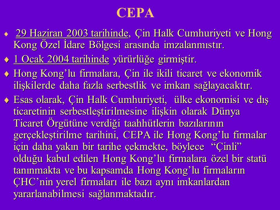 CEPA 29 Haziran 2003 tarihinde, Çin Halk Cumhuriyeti veHong Kong Özel İdare Bölgesi arasında imzalanmıstır.  29 Haziran 2003 tarihinde, Çin Halk Cumh