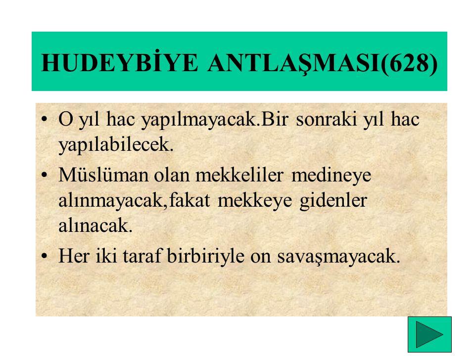 HENDEK SAVAŞI (627) ÖNEMİ:Hendek savaşı mekkelilerin son saldırı savaşıdır. Medinelilerin son savunma savaşıdır. Mekkeliler bu savaştan sonra müslüman