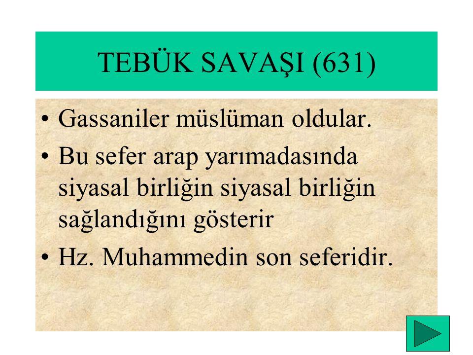 HAYBERİN FETHİ(629) Şam ticaret yollarının güvenliği sağlandı. MUTE SAVAŞI(629) Bizans ile yapılan ilk savaştır HUNEYN SAVAŞI(630 ) TAİF KUŞATMASI(630