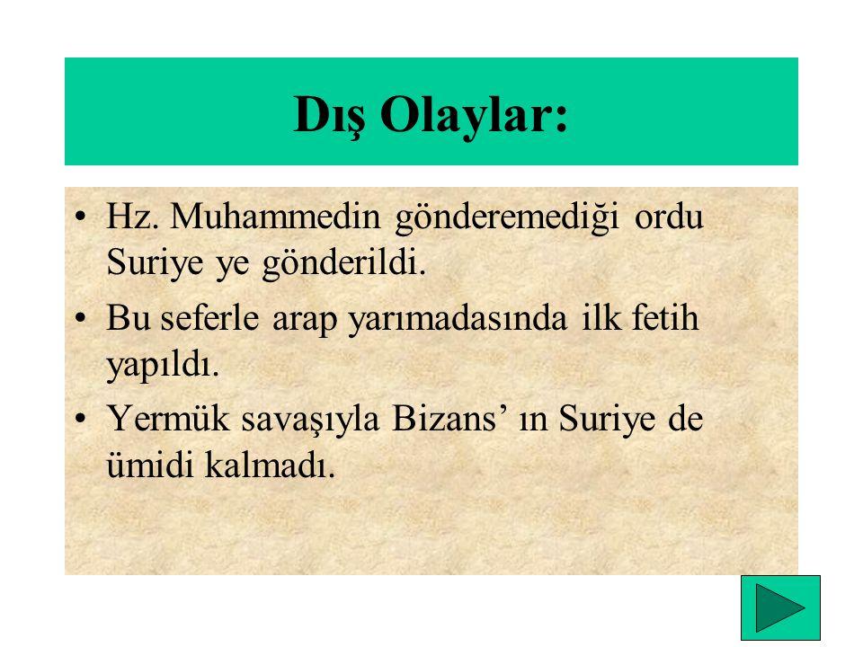 DÖRT HALİFE DÖNEMİ (632-661) Hz. Ebubekir dönemi (632-634) İç olaylar:Hz. Muhammed öldükten sonra zekat vermeyen ve dinden dönenler ile mücadele edild