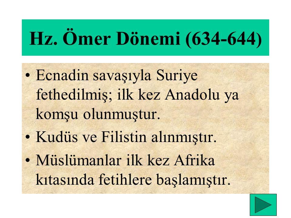 Dış Olaylar: Hz. Muhammedin gönderemediği ordu Suriye ye gönderildi. Bu seferle arap yarımadasında ilk fetih yapıldı. Yermük savaşıyla Bizans' ın Suri