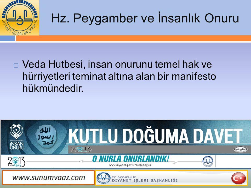 Hz. Peygamber ve İnsanlık Onuru  Veda Hutbesi, insan onurunu temel hak ve hürriyetleri teminat altına alan bir manifesto hükmündedir.