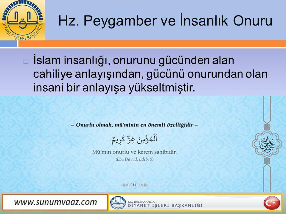 Hz. Peygamber ve İnsanlık Onuru  İslam insanlığı, onurunu gücünden alan cahiliye anlayışından, gücünü onurundan olan insani bir anlayışa yükseltmişti