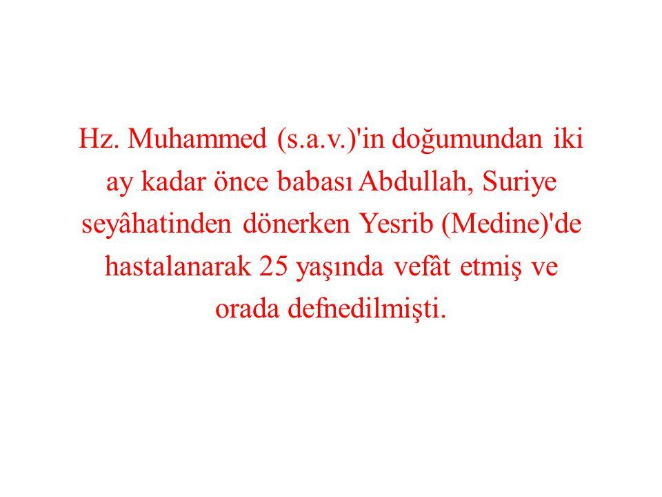 Hz. Muhammed (s.a.v.)'in doğumundan iki ay kadar önce babası Abdullah, Suriye seyâhatinden dönerken Yesrib (Medine)'de hastalanarak 25 yaşında vefât e