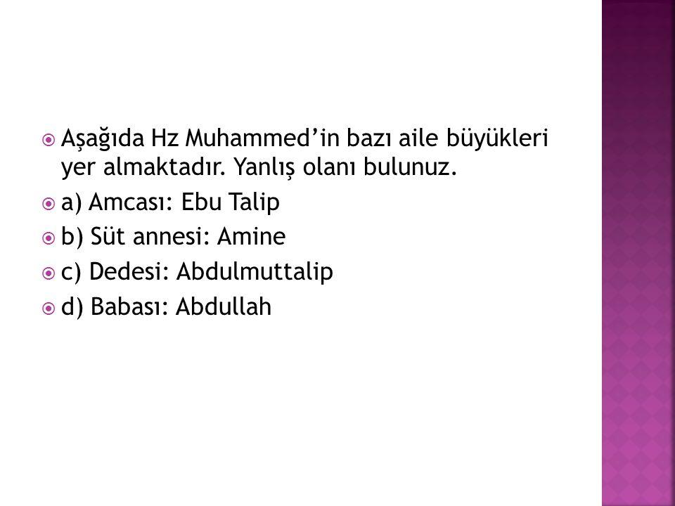  Aşağıda Hz Muhammed'in bazı aile büyükleri yer almaktadır.