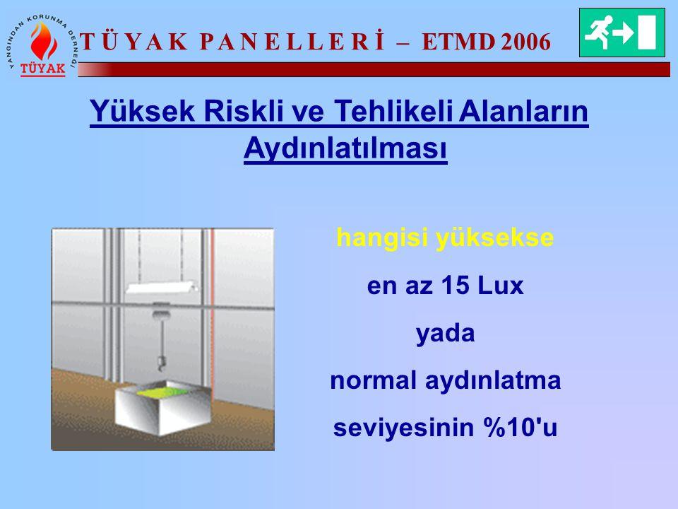 T Ü Y A K P A N E L L E R İ – ETMD 2006 Yüksek Riskli ve Tehlikeli Alanların Aydınlatılması hangisi yüksekse en az 15 Lux yada normal aydınlatma seviy
