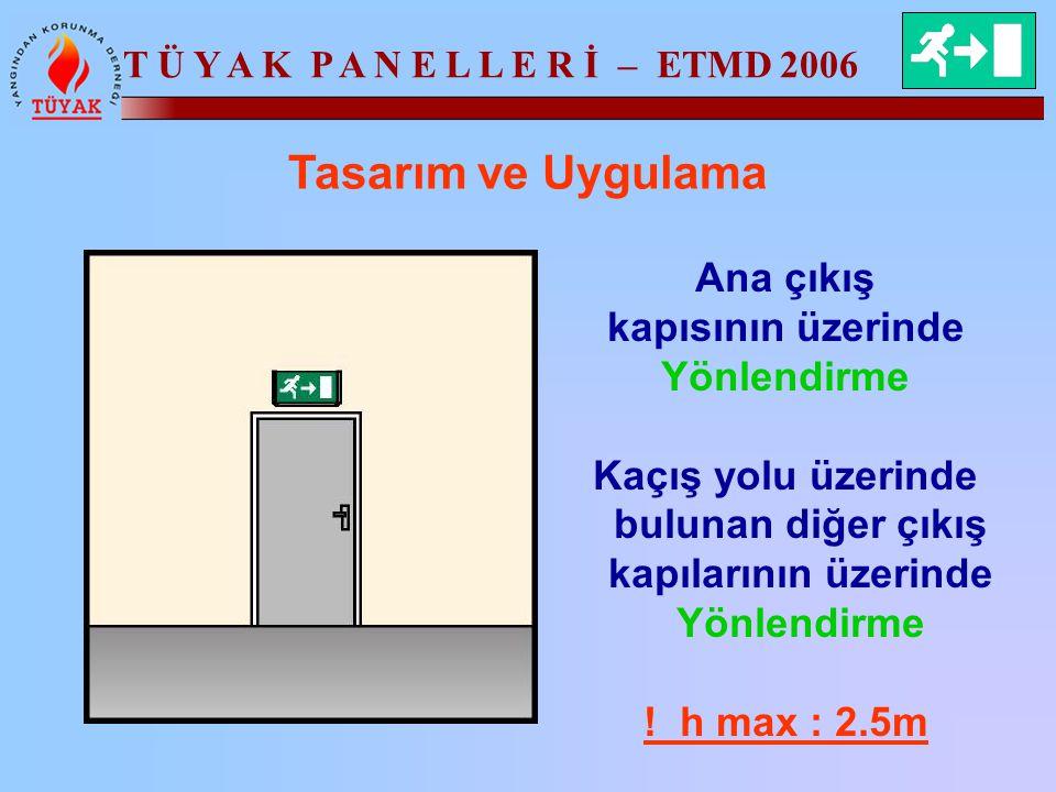 T Ü Y A K P A N E L L E R İ – ETMD 2006 Tasarım ve Uygulama Ana çıkış kapısının üzerinde Yönlendirme Kaçış yolu üzerinde bulunan diğer çıkış kapıların