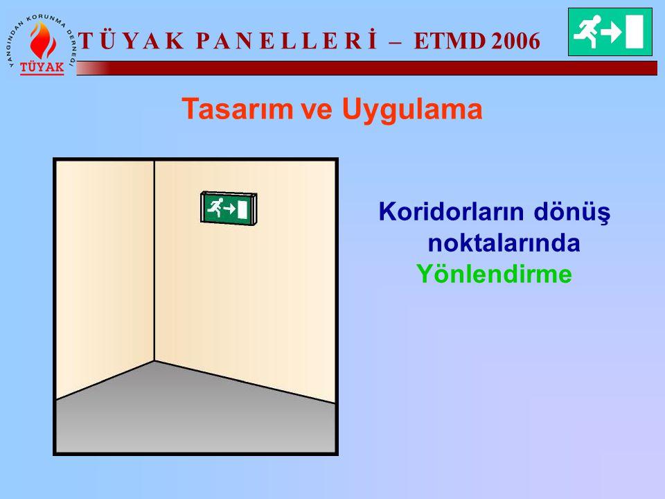 T Ü Y A K P A N E L L E R İ – ETMD 2006 Tasarım ve Uygulama Koridorların dönüş noktalarında Yönlendirme
