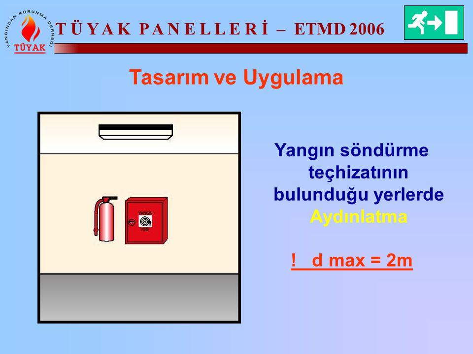T Ü Y A K P A N E L L E R İ – ETMD 2006 Tasarım ve Uygulama Yangın söndürme teçhizatının bulunduğu yerlerde Aydınlatma ! d max = 2m