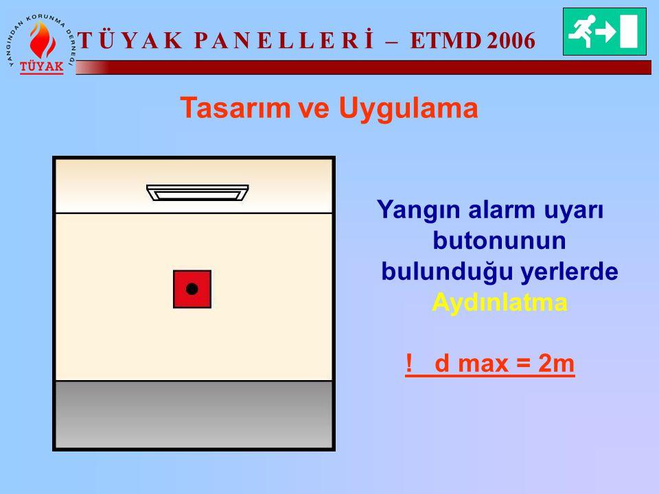 T Ü Y A K P A N E L L E R İ – ETMD 2006 Tasarım ve Uygulama Yangın alarm uyarı butonunun bulunduğu yerlerde Aydınlatma ! d max = 2m