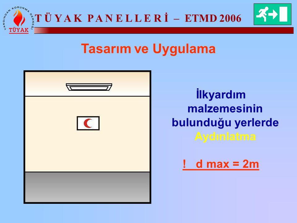 T Ü Y A K P A N E L L E R İ – ETMD 2006 Tasarım ve Uygulama İlkyardım malzemesinin bulunduğu yerlerde Aydınlatma ! d max = 2m