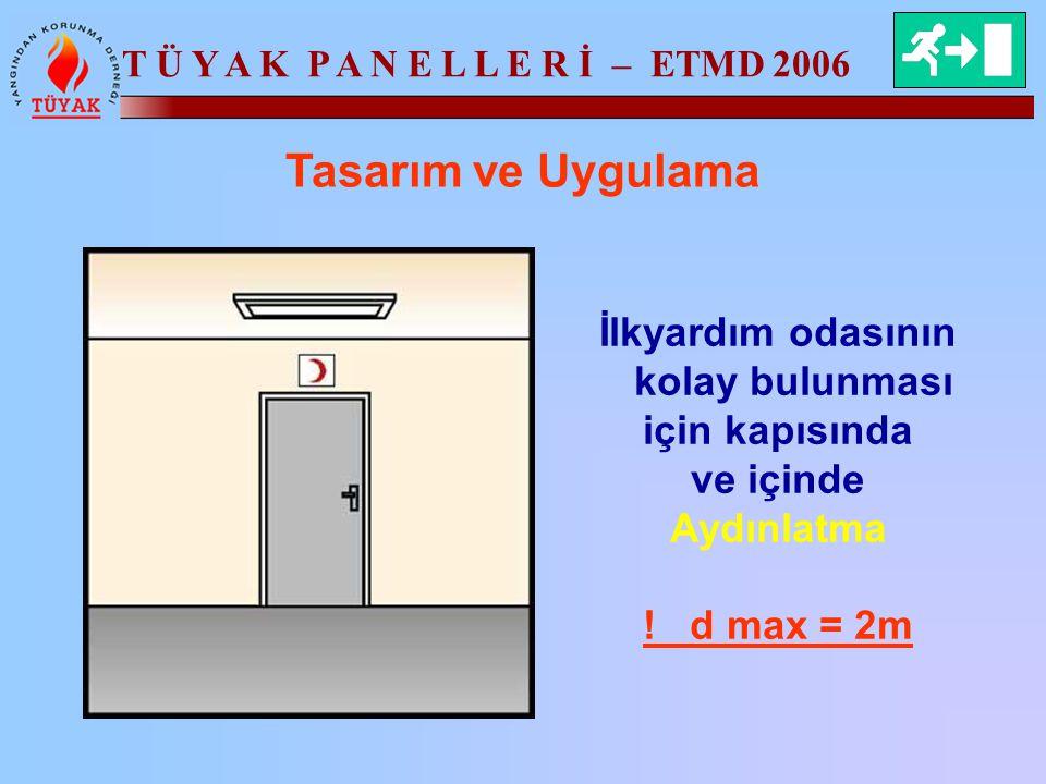 T Ü Y A K P A N E L L E R İ – ETMD 2006 Tasarım ve Uygulama İlkyardım odasının kolay bulunması için kapısında ve içinde Aydınlatma ! d max = 2m