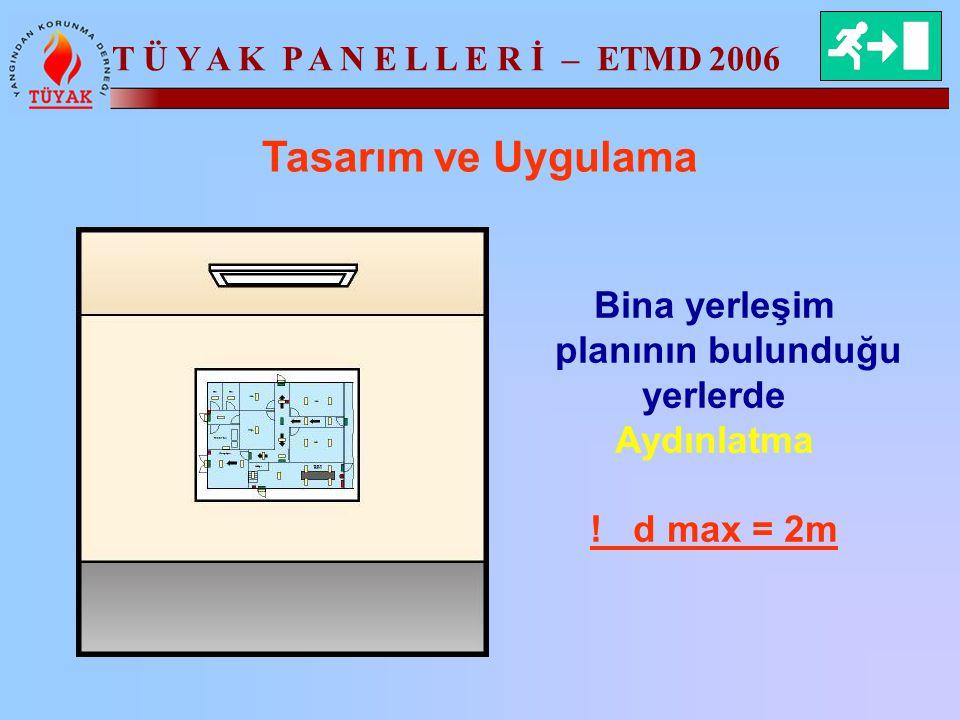 T Ü Y A K P A N E L L E R İ – ETMD 2006 Tasarım ve Uygulama Bina yerleşim planının bulunduğu yerlerde Aydınlatma ! d max = 2m