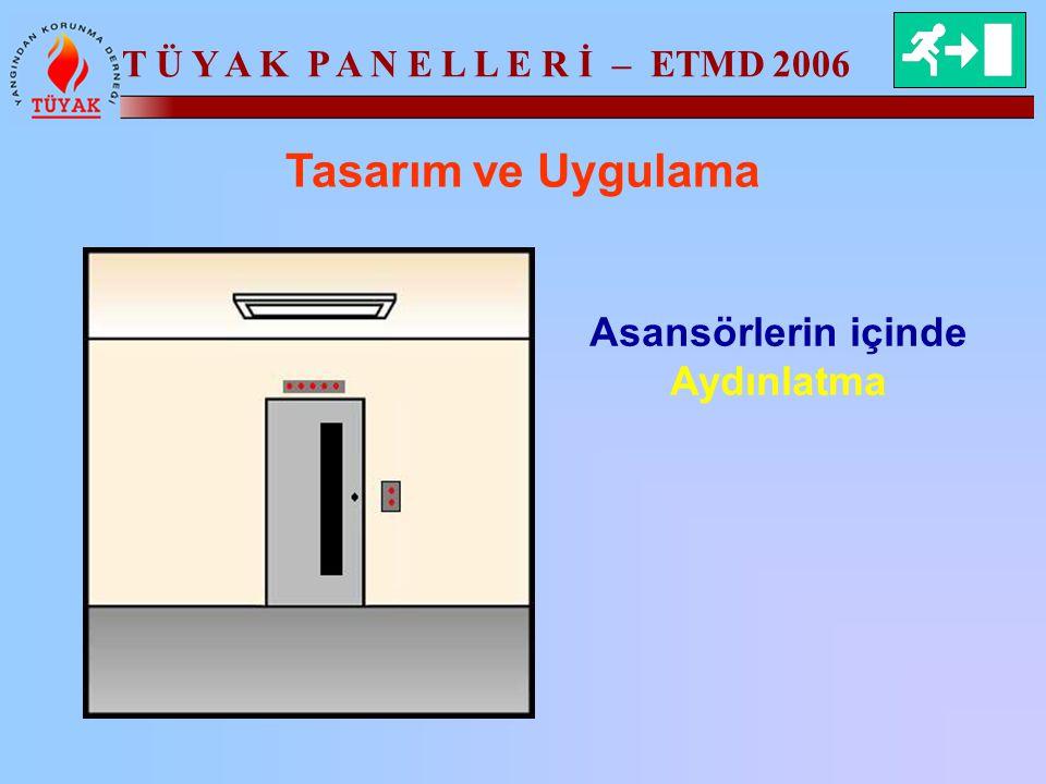T Ü Y A K P A N E L L E R İ – ETMD 2006 Tasarım ve Uygulama Asansörlerin içinde Aydınlatma